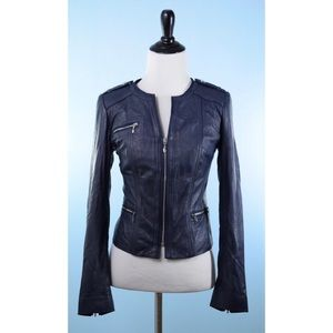 WHBM Leather Jacket NEW! XS, dark blue